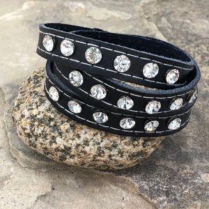 🍀CLOSEOUT🍀Faux Leather Rhinestone Wrap Bracelet